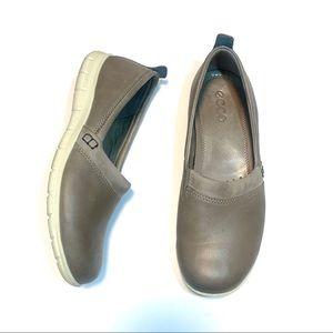 Ecco Grey Leather Slip On Sneakers